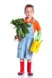Cute boy gardener. Cute preschool boy gardener.  on the white background Stock Photo