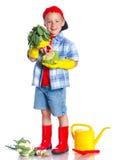 Cute boy gardener. Cute preschool boy gardener.  on the white background Royalty Free Stock Photography