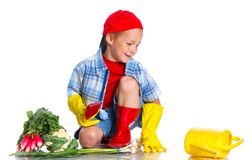 Cute boy gardener. Cute preschool boy gardener. on the white background royalty free stock images