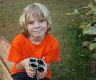 Cute boy gardening Stock Images