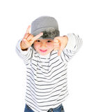 Cute boy gesturing with hands royalty free stock photography