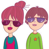 Cute boy and girl. In sunglasses - cartoon illustration Royalty Free Stock Images