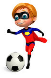 cute boy girl as a superboy with football Royalty Free Stock Image