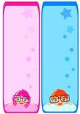 Notes template Cute boy girl cartoon vector Stock Images