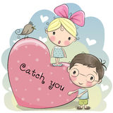Cute Boy and Girl Stock Image