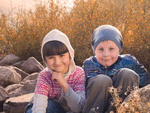 Cute boy and girl Stock Images