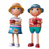 Cute boy and girl ceramic dolls holding coffee cup with clipping Stock Images