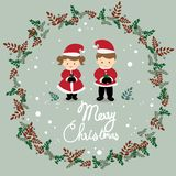 The girl and boy are wearing Christmas costume vector. stock illustration