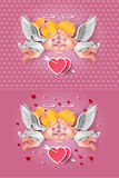 Cute boy and girl cupids. Royalty Free Stock Photos