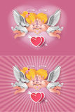Cute boy and girl cupids. Stock Images