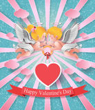 Cute boy and girl cupids. Royalty Free Stock Images