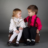 Cute boy and girl on date Stock Image