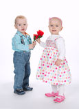 Cute boy and girl on date Stock Photography
