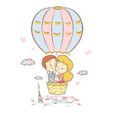 Cute boy and girl  fly in a balloon over Paris. Honeymoon trip to france. Valentines Day. Love story. Vector illustration. Royalty Free Stock Photos
