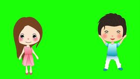 Cute Boy and Girl on a Green Screen, guy and lady jumping stock video footage