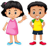 Cute boy and girl with happy face royalty free illustration