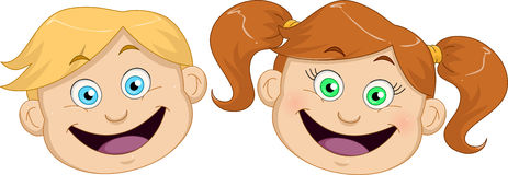 Cute Boy And Girl Heads Smiling Stock Photo