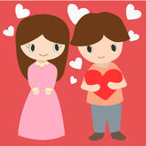 Cute Boy And Girl With Hearts Background For Valentine Day Stock Images