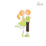 Cute boy and girl kissing Royalty Free Stock Images