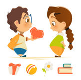 Cute boy and girl in love holding heart Stock Photo