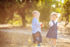 Cute boy and girl playing together summer outdoors Royalty Free Stock Photography