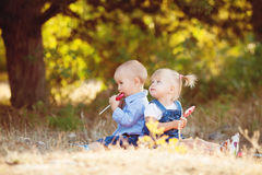Cute boy and girl playing together summer outdoors Stock Images