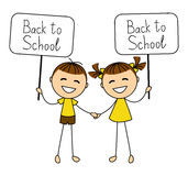 Cute boy and girl with school banner Stock Image