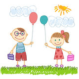Cute boy and girl sketch background. Vector illustration stock illustration