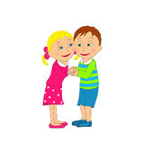 Cute boy and girl smiling, holding hands Stock Image