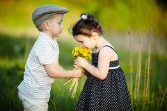 Cute boy and girl on summer field Royalty Free Stock Photography
