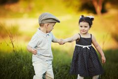 Cute boy and girl on summer Stock Photo