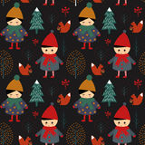 Cute boy and girl walking in winter forest seamless pattern on black background. Xmas scandinavian style nature illustration. Night winter forest with children Royalty Free Stock Photo