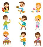Cute boy and girls having brekfast or lunch set, kids enjoying their meal vector Illustrations on a white background stock illustration