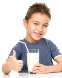 Cute boy with a glass of milk Stock Photography