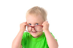 Cute boy with glasses in green shirt Stock Photography