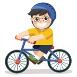 A Cute Boy with glasses. He riding a bicycle. A Cute Boy with glasses. He riding a bicycle on a white background stock illustration