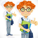 Cute boy in glasses with textbooks Stock Photography