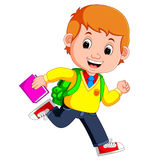 Cute boy go to school cartoon Royalty Free Stock Photo