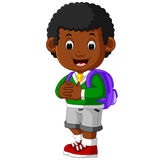 Cute boy go to school cartoon Stock Photography