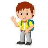 Cute boy go to school Stock Images