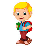 Cute boy go to school Royalty Free Stock Photography