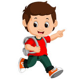 Cute boy go to school Royalty Free Stock Images