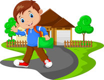 Cute boy go to school Royalty Free Stock Image