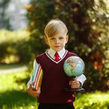 Cute boy going back to school. Child with books and globe on fir royalty free stock photography