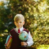 Cute boy going back to school. Child with books and globe on fir stock photos