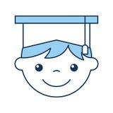 Cute boy graduated icon Stock Image