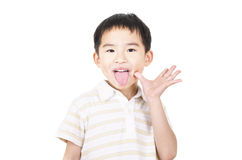 Cute boy grimace Royalty Free Stock Images