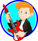 Cute boy guitar player Stock Image