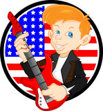 Cute boy guitar player Stock Photography
