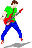 Cute boy guitar player Royalty Free Stock Images